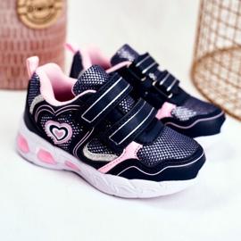 EVE Sportowe Buty Dziecięce Świecące Na Rzepy Granatowe Scarlet 1
