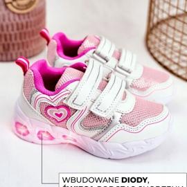 EVE Sportowe Buty Dziecięce Świecące Na Rzepy Białe Scarlet 4