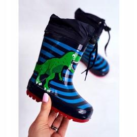Apawwa Dziecięce Gumowe Kalosze Granatowe Dinozaur Mordeso niebieskie zielone 3