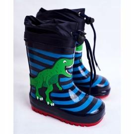 Apawwa Dziecięce Gumowe Kalosze Granatowe Dinozaur Mordeso niebieskie zielone 1
