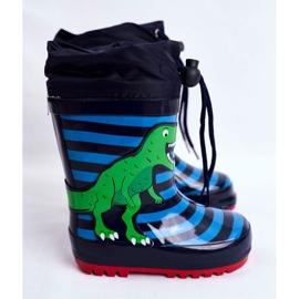 Apawwa Dziecięce Gumowe Kalosze Granatowe Dinozaur Mordeso niebieskie zielone 2
