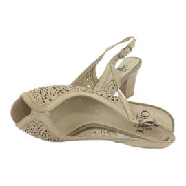 Caprice Sandały Ażurowe Skórzane 29606 beżowy 3