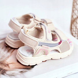 PL1 Sandały Dziecięce na Rzepy Beżowe Grobino beżowy 3