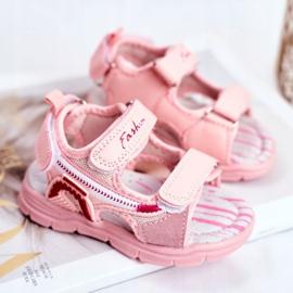 PL1 Sandały Dziecięce na Rzepy Różowe Grobino 2