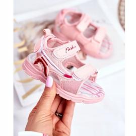 PL1 Sandały Dziecięce na Rzepy Różowe Grobino 1