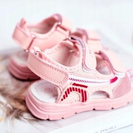 PL1 Sandały Dziecięce na Rzepy Różowe Grobino 3