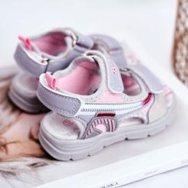PL1 Sandały Dziecięce na Rzepy Szare Grobino różowe 3