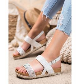 SHELOVET Modne Białe Sandały 2