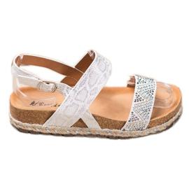 SHELOVET Modne Białe Sandały 4
