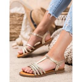 Mannika Eleganckie Sandały Z Kryształkami żółte 2
