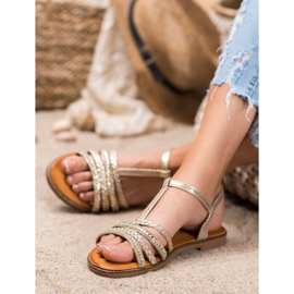 Mannika Eleganckie Sandały Z Kryształkami żółte 3