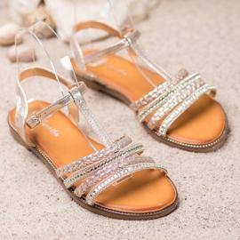 Mannika Eleganckie Sandały Z Kryształkami żółte 1