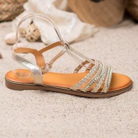 Mannika Eleganckie Sandały Z Kryształkami żółte 4