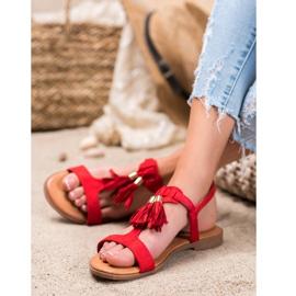 Renda Sandałki Z Frędzlami czerwone 1