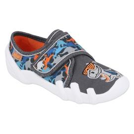 Befado obuwie dziecięce 273X289 niebieskie pomarańczowe szare 1