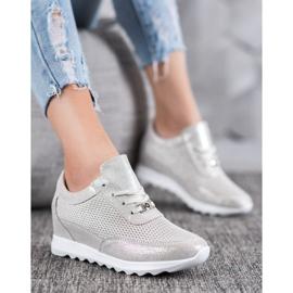 Błyszczące Sneakersy Ze Skóry VINCEZA szare 3