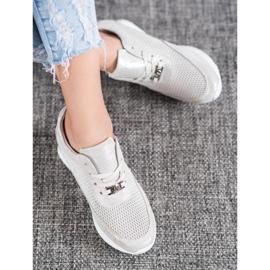 Błyszczące Sneakersy Ze Skóry VINCEZA szare 4