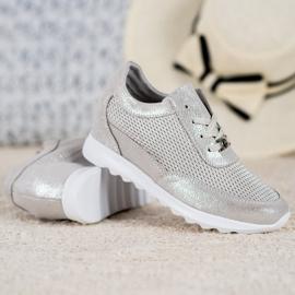 Błyszczące Sneakersy Ze Skóry VINCEZA szare 1