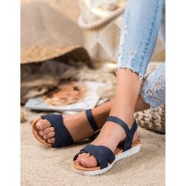 SHELOVET Wygodne Tekstylne Sandały niebieskie 4