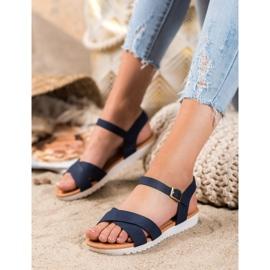 SHELOVET Wygodne Tekstylne Sandały niebieskie 3
