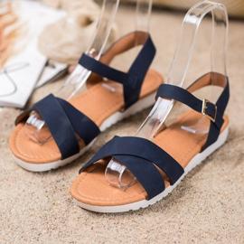 SHELOVET Wygodne Tekstylne Sandały niebieskie 1