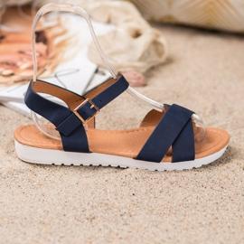 SHELOVET Wygodne Tekstylne Sandały niebieskie 2