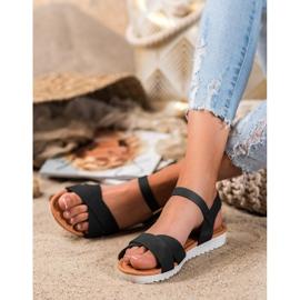 SHELOVET Wygodne Tekstylne Sandały czarne 4