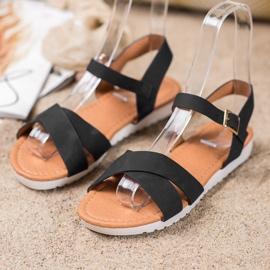 SHELOVET Wygodne Tekstylne Sandały czarne 1