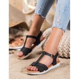 SHELOVET Czarne Tekstylne Sandały 1