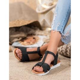 SHELOVET Czarne Tekstylne Sandały 2
