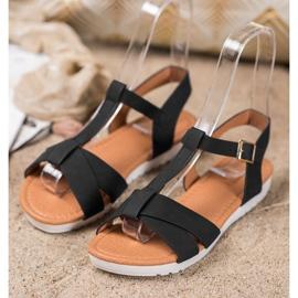 SHELOVET Czarne Tekstylne Sandały 3
