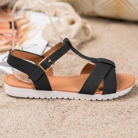 SHELOVET Czarne Tekstylne Sandały 4