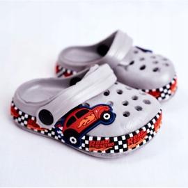 Giolan Klapki Dziecięce Piankowe Kroksy Szare Road Racing czerwone pomarańczowe 1
