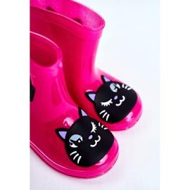 Dziecięce Gumowe Kalosze Różowe Cat czarne 5