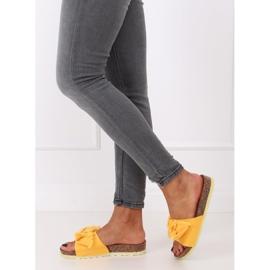 Klapki damskie miodowe WS9023 Yellow żółte 3