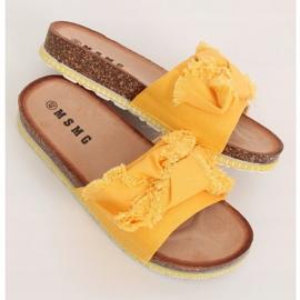 Klapki damskie miodowe WS9023 Yellow żółte 1