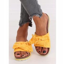 Klapki damskie miodowe WS9023 Yellow żółte 2