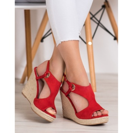 Goodin Zabudowane Sandały Espadryle czerwone 1
