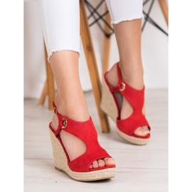 Goodin Zabudowane Sandały Espadryle czerwone 5