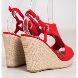 Goodin Zabudowane Sandały Espadryle czerwone 4