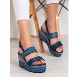 Goodin Granatowe Sandały Na Koturnie niebieskie 4