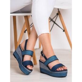 Goodin Granatowe Sandały Na Koturnie niebieskie 1