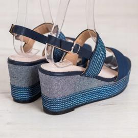 Goodin Granatowe Sandały Na Koturnie niebieskie 2