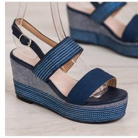 Goodin Granatowe Sandały Na Koturnie niebieskie 3