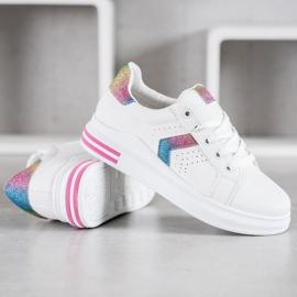 SHELOVET Sneakersy Z Brokatowymi Wstawkami 3