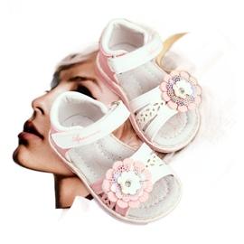 Apawwa Sandały Dziecięce na Rzepy Kwiatuszek Różowe Mino białe 1