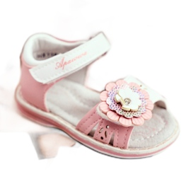 Apawwa Sandały Dziecięce na Rzepy Kwiatuszek Różowe Mino białe 2