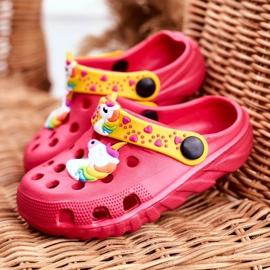 Bona Klapki Dziecięce Piankowe Kroksy Różowe Jednorożec Lily żółte 1