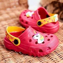 Bona Klapki Dziecięce Piankowe Kroksy Różowe Jednorożec Lily żółte 3