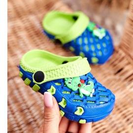 Klapki Dziecięce Piankowe Kroksy Granatowe Krokodyl Casper niebieskie żółte 3